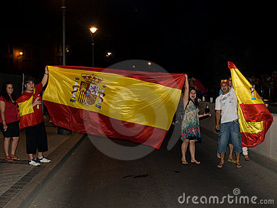 Spanish people celebrating the Worldcup victory Editorial Photography