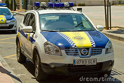 Spanish Police Car Editorial Stock Image