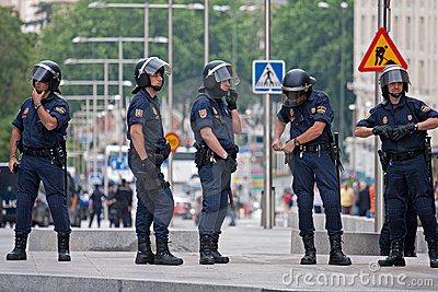 Spanish Police in Madrid during the protests Editorial Stock Photo
