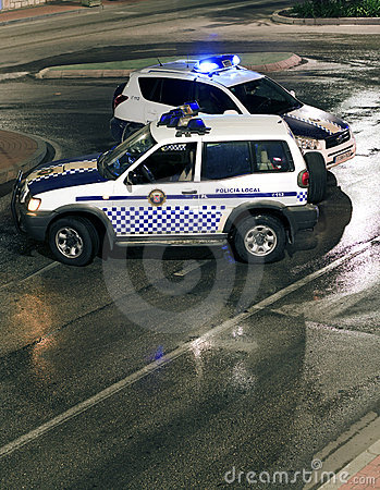 Spanish Police Road Block Editorial Stock Image