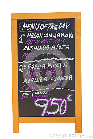 Spanish restaurant menu board