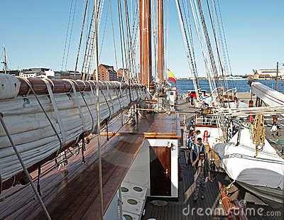 Spanish ship visitors Editorial Stock Image