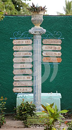 Spanish Sign Post at a Cuban Resort