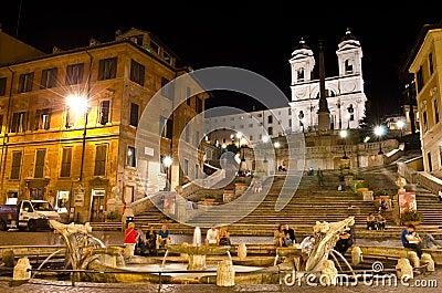 Spanish Steps at night Editorial Stock Image