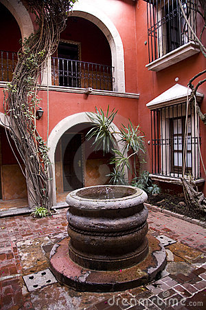 Free Spanish Style Courtyard Well Morelia Mexico Stock Photography - 4491792