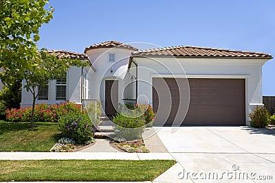 Spanish Style Stucco Home Stock Image Image 1099271