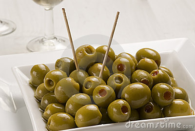 Spanish tapas. Stuffed olives.