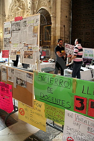Spanish teachers strike in Seville Cathedral Editorial Stock Image