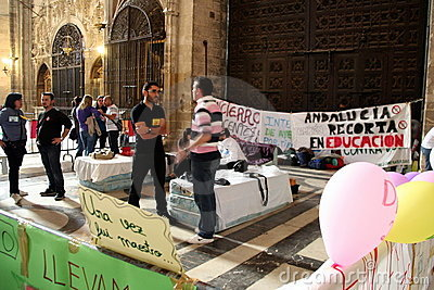 Spanish teachers strike in Seville Cathedral Editorial Image