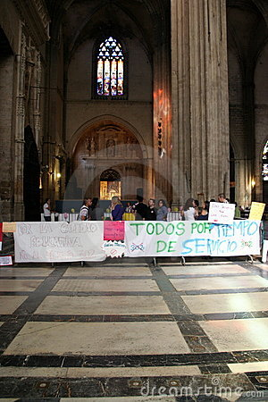 Spanish teachers strike in Seville Cathedral Editorial Photo