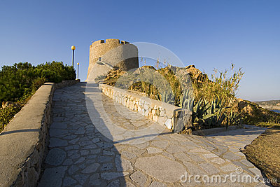 Spanish tower of St. Teresa, Sardinia, Italy