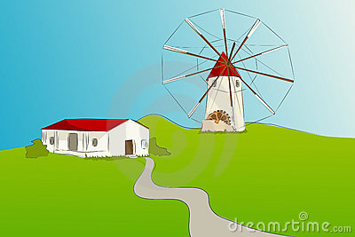 Spanish windmill - Vector illustration