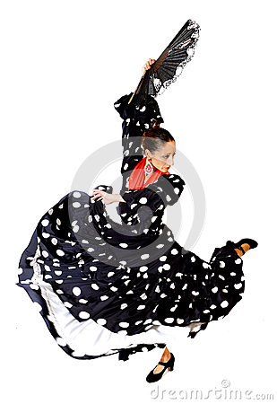 Free Spanish Woman Dancing Sevillanas Wearing Fan And Typical Folk Black With White Dots Dress Royalty Free Stock Images - 44894059