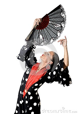 Free Spanish Woman Dancing Sevillanas Wearing Fan And Typical Folk Black With White Dots Dress Stock Photography - 44894072