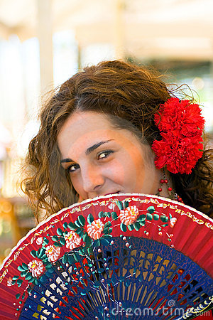 Spanish Woman with Red and Blue Fan