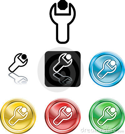 Free Spanner And Nut Icon Symbol Stock Image - 3841411