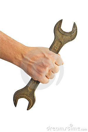 Spanner in a man s hand