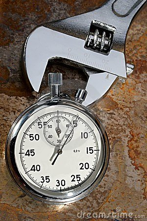 Spanner and stopwatch