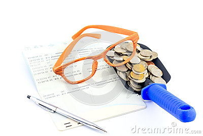 Sparande pengar- och kontobankbok