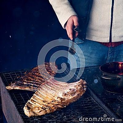 Spareribs on grill