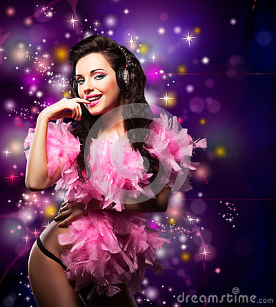 Free Sparking. Shiny Happy Woman Dancing - Fancy Dress Party. Disco Lights Stock Photo - 28643870