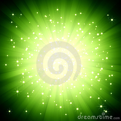 Sparkle green light burst with stars