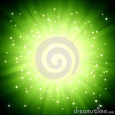 Free Sparkle Green Light Burst With Stars Stock Photo - 11823070