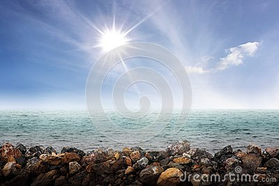 Sparkle sun above a sea