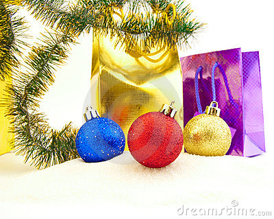 Sparkling Christmas balls and golden beads