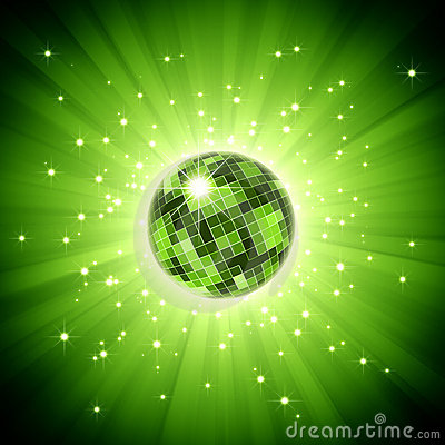 Sparkling disco ball on green light burst