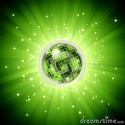 Sparkling disco ball on green light burst