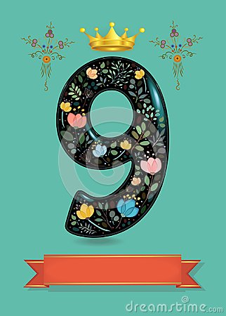 Free Sparkling Floral Number Nine With Golden Crown Stock Photography - 120937102