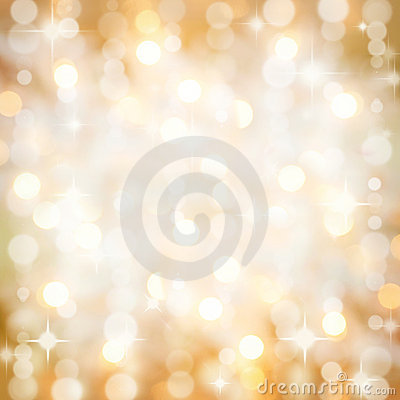 Sparkling golden Christmas party lights background