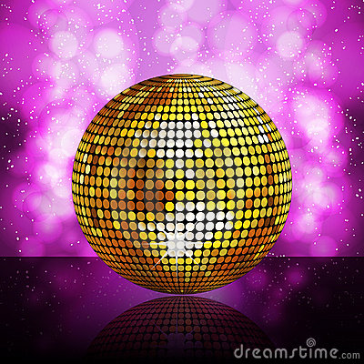 Sparkling golden disco ball