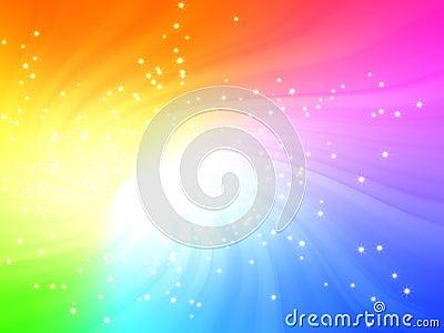 Sparkling Rainbow Colors Light Burst With Stars Royalty
