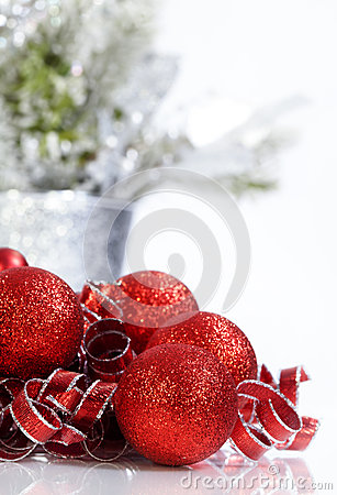 Sparkling Red Christmas Ornaments