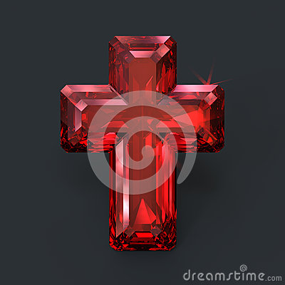 Sparkling Ruby Red Cross Holy Glare Stock Illustration
