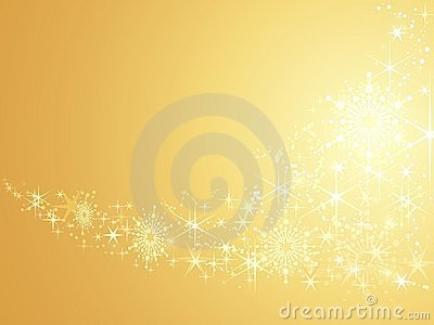 Sparkling stars on golden abstract background