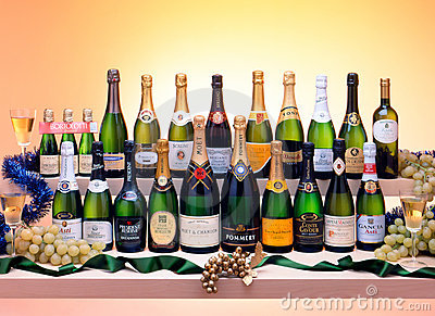 Sparkling white wine bottles Editorial Stock Image