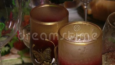 Sparkling wine poured into a wine glass stock footage