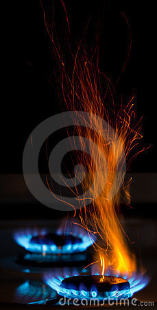 Sparks and flames
