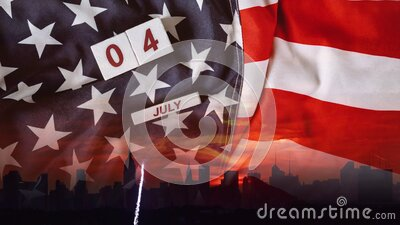 Sparks nighttime projection and fireworks show God Bless America Celebrating Independence Day United States of America. Sparks nighttime projection and fireworks stock illustration