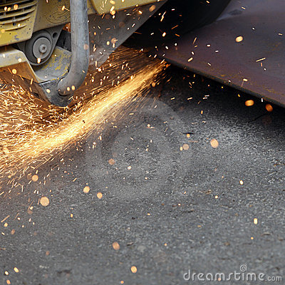 Sparks from steel cutting