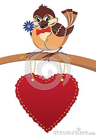 Sparrow in love, postcard