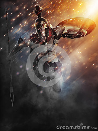 Spartan charge with abstract lighting effects. Stock Photo
