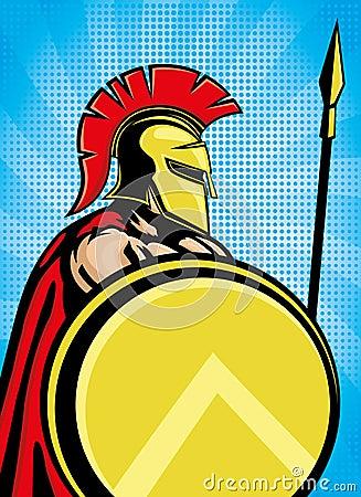 Spartan With Shield And Spear  Cartoon Vector   CartoonDealer com
