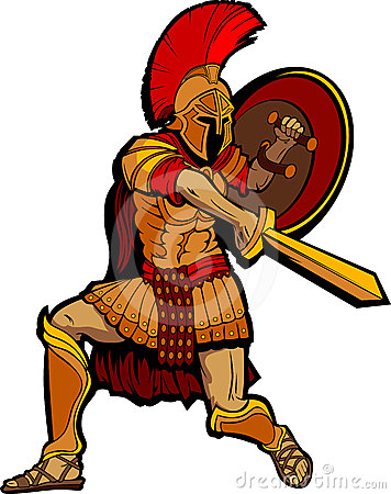 Spartan Standing with Sword and Shield
