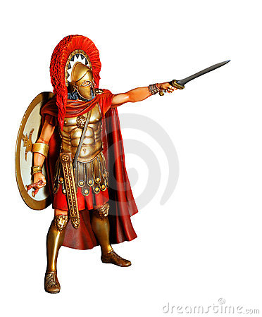 Spartan warrior in armor with sword