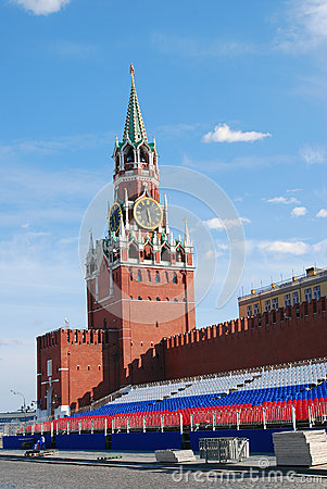 Spasskaya clock tower and holiday tribune Editorial Stock Image