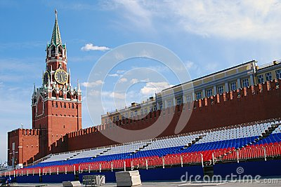 Spasskaya clock tower and holiday tribune Editorial Photo
